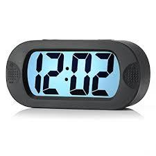 night light alarm clock amazon com easy to set plumeet large digital lcd travel alarm