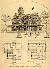 Victorian Mansion Plans | vintage victorian house plans 1879 print victorian house