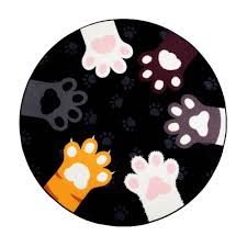 Black Circle Rug Aliexpress Com Buy Pink Black Gray Cute Cats Paw Round Rug For