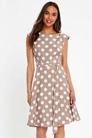 taupe polka dot fit and flare dress wallis
