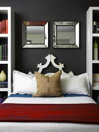 theme mirror ideas decorating with mirror above accent bed
