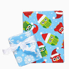 owls snowflakes reversible wrapping paper mixed bag designs