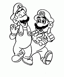 mario bros drawing kids coloring