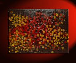 art for office huge textured abstract painting red brown yellow