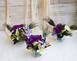 Feather And Flower Centerpieces by Peacock Centerpiece Etsy