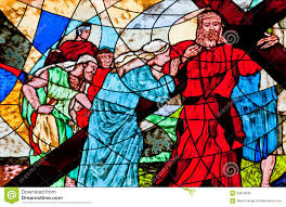stained glass showing jesus carrying the cross royalty free stock