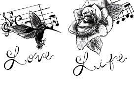 music love life tattoo design on paper tattooshunter com
