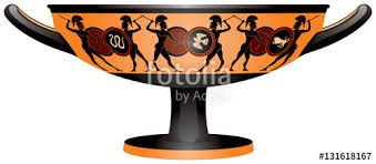 Greek Black Figure Vase Painting Warriors On The Ancient Greece Kylix Drinking Cup Black Figure