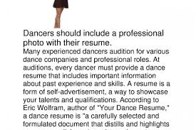 Sample Audition Resume by An Example For Dance Audition Resume Reentrycorps