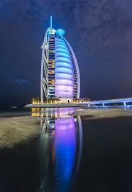the burj al arab at night stuck in customs