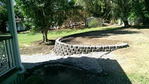 domestic landscape link block retaining wall stairs drainage