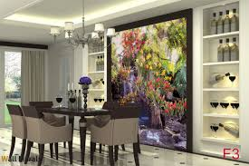 Dining Room Murals Mural Small Waterfall With Many Flowers