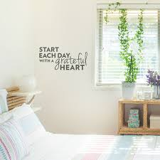 start each day with a grateful heart wall decal
