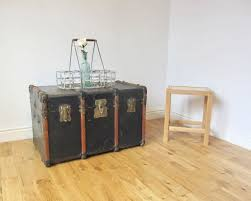 vintage bentwood steamer trunk coffee table storage chest in