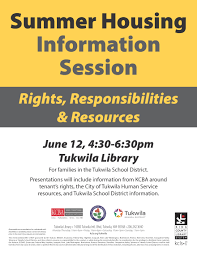 summer housing information session for families in the tukwila
