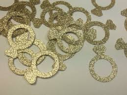Bridal Shower Decor by Gold Glitter Engagement Ring Confetti Engagement Party Decor