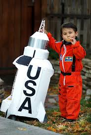 nasa astronaut costume and saturn v rocket made from foam