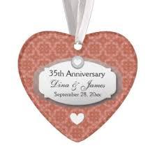 wedding anniversary ornaments 35th wedding anniversary ornaments keepsake ornaments zazzle