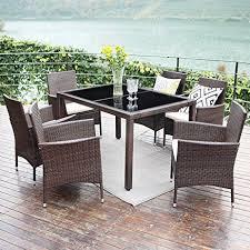 amazon com outdoor dining table set wisteria lane 7 piece patio
