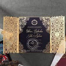 wedding invitations laser cut luxury invitation navy gold foil imprinting gate fold