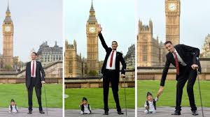 8 feet in inches tallest and smallest men meet for guinness world records day itv news