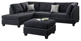 3 piece reversible chaise sectional sofa set 2 accent pillows