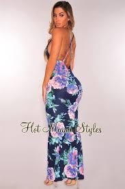 navy blue purple floral crisscross maxi dress