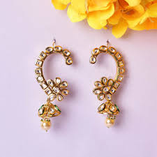 kaan earrings gold finish kundan kaan earrings by zevar by geeta https