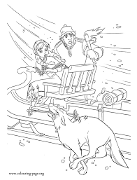 frozen anna kristoff chased wolves coloring