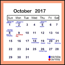 october 2017 calendar usa printable template with holidays pdf
