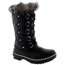 womens winter boots for sale amazon com womens sorel tofino leather lace up black fur