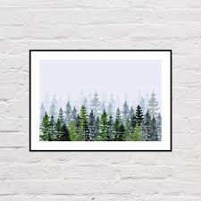 watercolor evergreen trees watercolor forest print