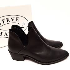 steve madden steve madden austin black leather ankle boot new
