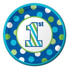 1st birthday 1st birthday stripes boy dessert plates 8 at dollar carousel