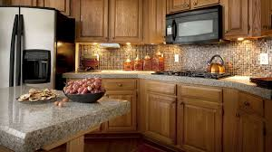 granite countertop cabinets wall mounted integrated microwave
