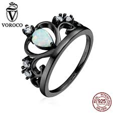 black rings images Authentic 925 sterling silver crown rings engagement wedding jpg