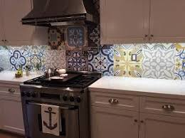 Cement Tile Patchwork Makes Kitchen Backsplash Sing  Avente Tile - Cement tile backsplash