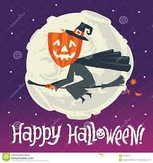 witch halloween background a flying witch on a broomstick on a background of the moon happy