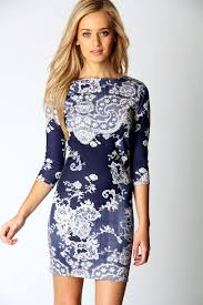 boo hoo clothing darcey printed sleeve bodycon dress boohoo