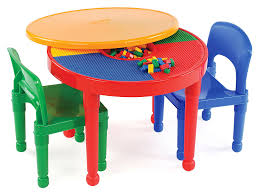 Outdoor Childrens Table And Chairs Amazon Com Tot Tutors Kids 2 In 1 Plastic Lego Compatible