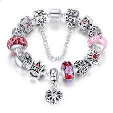 clasp bracelet charms images Silver charms clasp bracelet amp bangles with queen crown the jpg