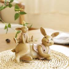 garden miniature resin rabbit statuettes office solid crafts
