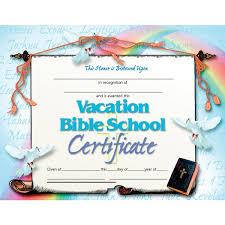 vacation bible certificate va542 hayes publishing