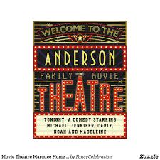 theatre marquee home cinema custom name canvas print
