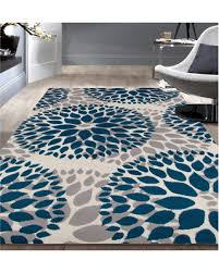 Modern Floral Area Rugs New Shopping Special Osti Modern Floral Design Blue Area Rug 7 6