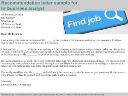 hr business analyst recommendation letter