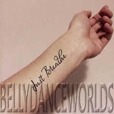 1 set of 3 just breathe cursive script temporary tattoo quote