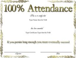 perfect attendance certificate template word choice image