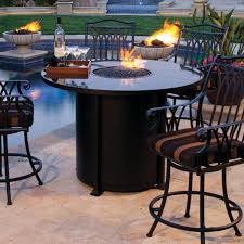 Ow Lee Fire Pit by Ow Lee Casual Fireside Santorini Round Counter Height Iron Fire