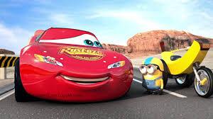 disney pixar cars 3 flat tire lightning mcqueen races a minion